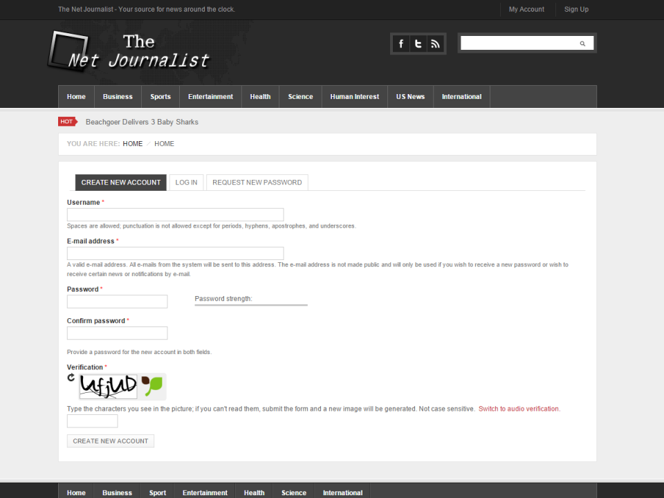 The Net Journalist Signup Page